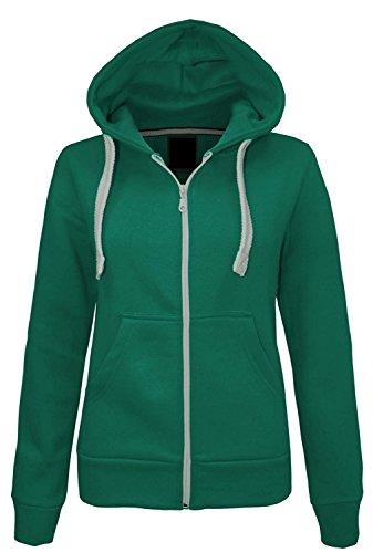 Ladies Girls Plain Hoodie Sweatshirt Fleece gefütterte Jacke EUR Größe 36-50 (EUR 38 (UK 10), Grün) (Grüner Jacke Hoodie)