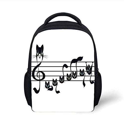 Music Decor,Notes Kittens Kitty Cat Artwork Notation Tune Children Halloween Stylized, Plain Bookbag Travel Daypack ()
