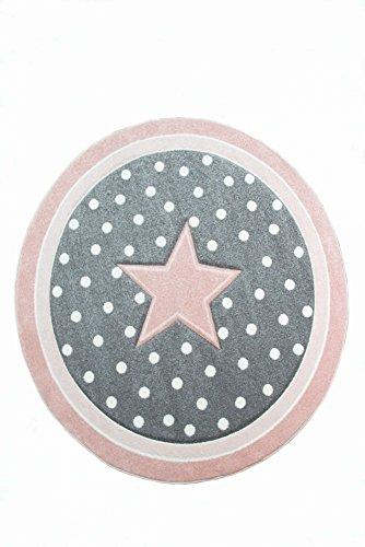 Kinderteppich Spielteppich Babyteppich rund mit Stern in Rosa Grau Weiss Größe 120 cm Rund
