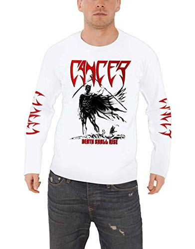 Cancer T Shirt Death Shall Rise Band Logo Nuovo Ufficiale Uomo Bianca Long Size L
