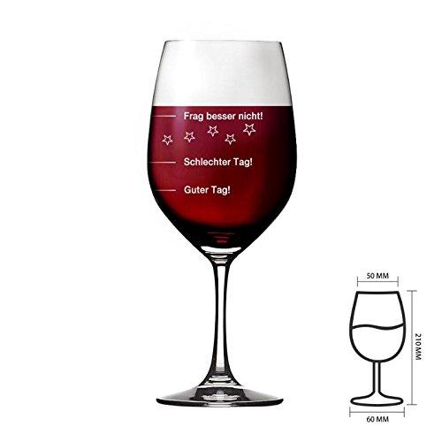 Weinglas Guter Tag!, Schlechter Tag! - Frag besser nicht! | Premiumglas | Rotweinglas Weißweinglas | XXL 410ml von Wine4you l Geschenkidee (Geschenkideen)