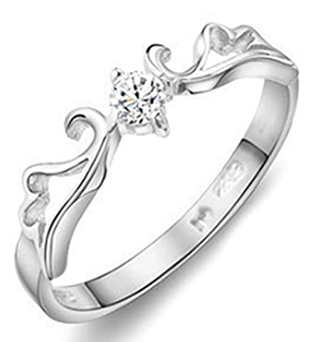 SaySure - Crown Ring Silver Sterling 925 Austria Crystal (SIZE : 4)
