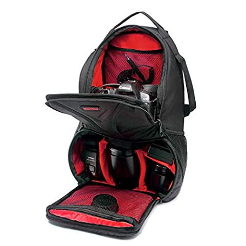 Camera Sling Bag Chest Pack Outdoor Large Space Large Capacity Waterproof Professional Camera Messenger Backpack for Canon and other SLR Camera , Red