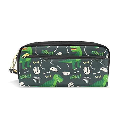 Süße grüne Dinosaurier Bleistift Tasche für Kinder Jungen groß Leder Tasche mit Reißverschluss Schule Student Kosmetik Make-up