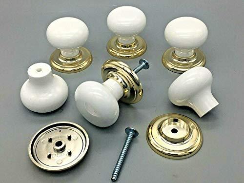 Swish 6-er Set weiße Knäufe für Schubladen, Schränke, Keramik-/Porzellaneffekt, Sockel mit Messingeffekt -