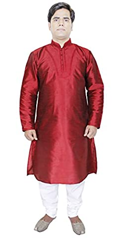 Mens Kurta Pyjama Red Silk Sherwani Style Indian Wedding Dress Party Wear -L