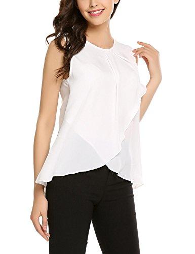 cbb141bdf0e1dd Meaneor Tops Damen Tank Armlos Shirt Rundhals Bluse Tunika sexy Oberteil in  3 Frabe Weiß