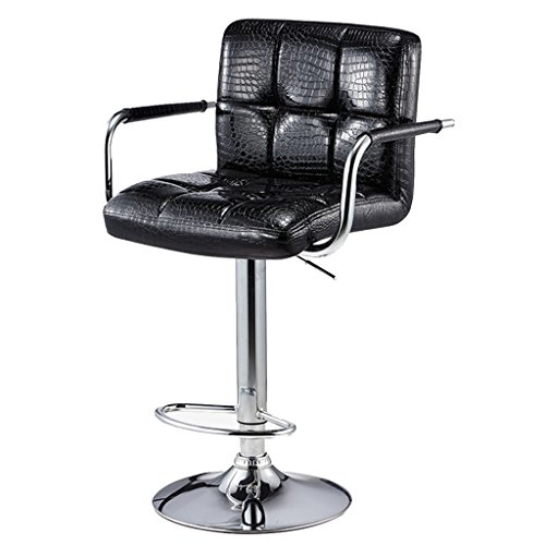 Luxuriöse Barhocker Barhocker Dining Chair Lift Verstellbarer Hochstuhl mit Rückenlehne und Fußstütze Schwarz Glossy Faux Crocodile Leder Hochhocker Reception Chair Lounge Sessel mit Armlehnen - Schwarz Faux Leder-lift