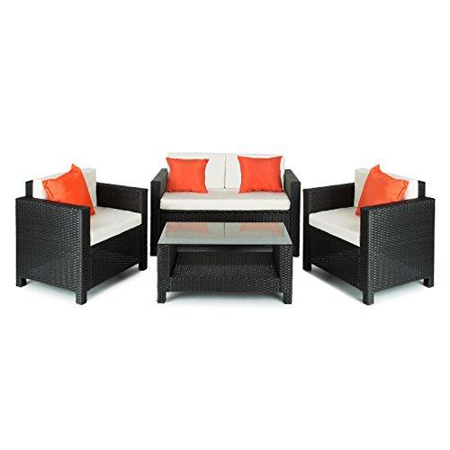 Blumfeldt Verona - Salon de jardin 4 pièces : canapé 2 places, 2 fauteuils et table avec plateau en verre (espace de rangement sous canapé, coussins inclus) - noir / orange