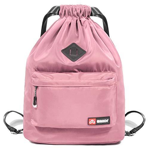 WANDF wasserdichte Rucksack mit Teleskopischem Schulterriemen, für Einkauf und Sport Yoga (Pink Upgrade) -