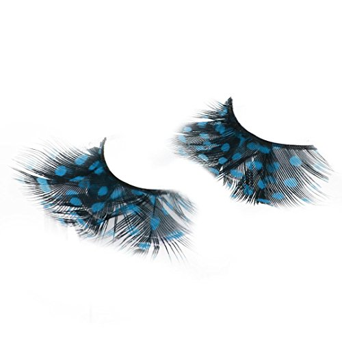 WYXlink Frauen Fancy Soft Lange Feder Falsche Wimpern Augen Peitsche Makeup Party Club (Sky Blue)
