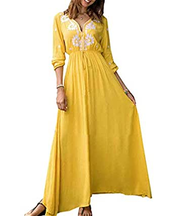 f989e006b6 Image Unavailable. Image not available for. Colour  Jacansi Women Vintage  Floral Printed Long Sleeve Kaftan Long Maxi Dress Yellow UK 6-8