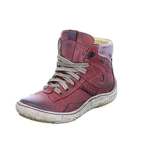 Kacper 4-4969 Damen Stiefelette Schnürer Sneaker High-Top Stiefel Reißverschluss Rot (Red)