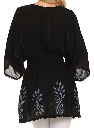 Sakkas Tunique Chemisier Brodée Batik en Coton Transparent Gris Noir