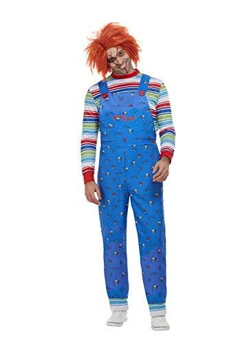 Für Chucky Kostüm Herren Erwachsene - Smiffys 50265L Offiziell lizenziertes Chucky-Kostüm, Herren, Blau, Größe L, 106,7-111,8 cm