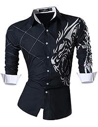Largas Z030 Moda Fashion Sleves Men Causal de Slim Fit Camisas Mangas Shirts Hombres Jeansian Long qwxB6FIS