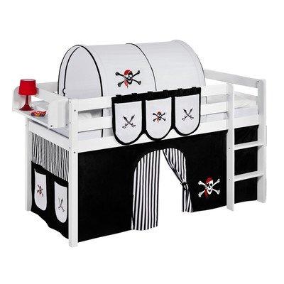 Lilokids Spielbett Jelle Pirat, TÜV und GS geprüft, Hochbett mit Vorhang und Lattenrost Kinderbett, Holz, schwarz/weiß, 208 x 98 x 113 cm