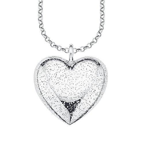 s.Oliver Damen-Kette mit Anhänger Herz (gravurfähig) 925 Silber rhodiniert 45 cm - 560764