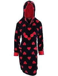 Bata/sudadera larga de polar con estampado de corazones y capucha para mujer