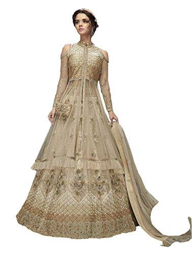 Justkartit Stylish Bridal Wear Net Gown Style Anarkali Lehenga Suit Dress 2018