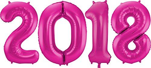 Carpeta-Silvester-Deko-2018--mit-vier-XXXL-Folienballons-in-Pink--86cm-hoch-und-ca-150cm-breit--kombinierbar-mit-vielen-sen--Super-Effekt-mit-diesen-Ballons-