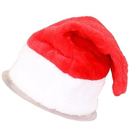 Noël Partie Santa Chapeau Rouge Blanc Cap, QinMM pour Santa Costume Nouveau Enfant Adulte Décoration Bonnet (Adulte(39cm x 28cm), Rouge)