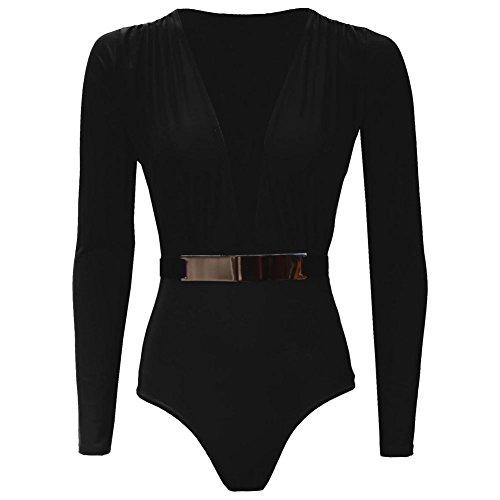 Janisramone Femmes manches longues boucle dorée ceinture Plung col en V Dreamlight Body haut Noir ML