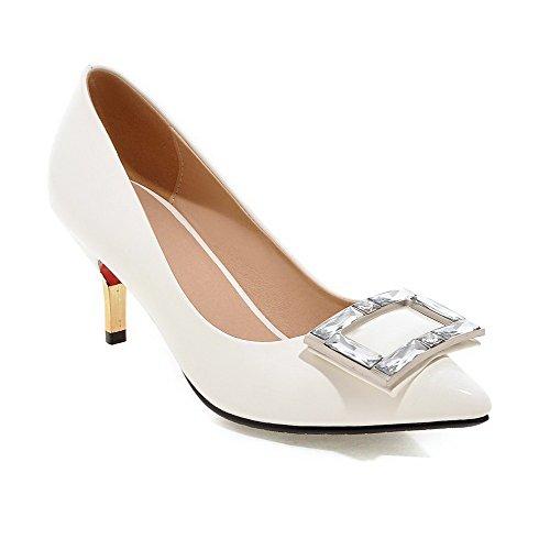 VogueZone009 Damen Lackleder Spitz Zehe Hoher Absatz Ziehen Auf Eingelegt Pumps Schuhe Weiß