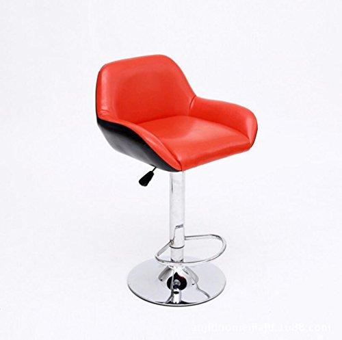tabouret en bois Chaise de bar décontractée mode créative simple ascenseur chaise de bar tournant chaise haute/noir, rouge, blanc (Couleur : Rouge)