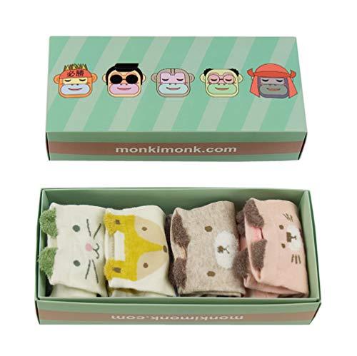monkimonk - Süße bunte Socken aus Baumwolle für Damen und Mädchen in verschiedenen farbenfrohen Mustern und Tiermotiven (Blau, Grün, Rosa, Beige)