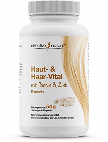 effective nature Haut & Haar-Komplex - 100 vegane Kapseln Mit Biotin und Zink - Diese Stoffe tragen zu normaler Haut & Haare bei - 1-Monats Kur