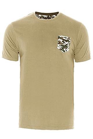 Brave Soul Mens Pulpe Crew Neck T Shirt Stone Camo