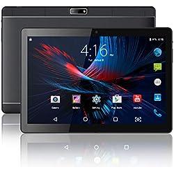 10.1 Pouces Tablette Tactile - 3G/WiFi, Android 7.0, 1280 × 800 Écran IPS, Quad Core, 32 Go, 2 Go de RAM, Doule SIM, Bluetooth, GPS,WiFi - Noir