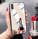 Shinyzone Miroir Coque pour iPhone 7 Plus,Élégant Argent Dur PC Retour Housse étui,Pare-Chocs Flexible en Silicone avec Mode Miroir Maquillage pour iPhone 8 Plus,Miroir Argent
