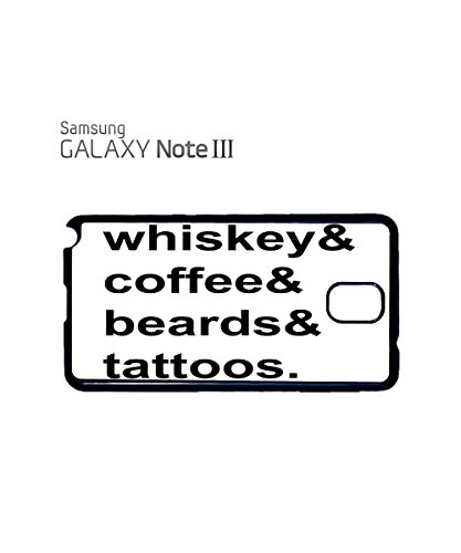 Whiskey Coffee Beards Tattoos Mobile Phone Case Back Cover Coque Housse Etui Noir Blanc pour for Samsung Note 2 Black Blanc