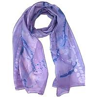 Purple Lilac Silk Scarf Women Ladies Lightweight