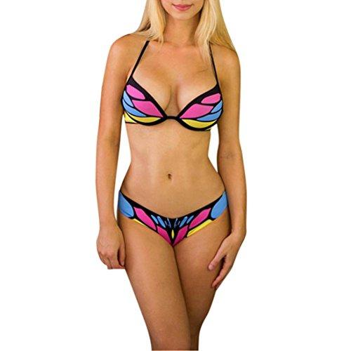 TWIFER Damen Push Up Bikini Set Bedruckte Triangel Badeanzug Bademode