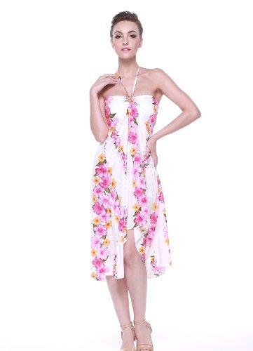 Robe de mariée hawaïenne pour femme en Panneau Rose Blanc Pink Panel
