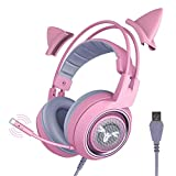 Noodei G951pink Gaming Headset para PC, PS4, Laptop: 7.1 Auriculares de Oreja de Gato Desmontables con Sonido Envolvente Virtual Hardware de Juegos de PC