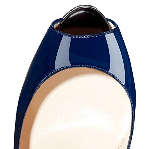 Damenschuhe Pumps Peep Toe High Heels Stiletto Lackleder mit Plateau Blau Und Orange