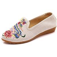 Frühling, Sommer und elegante kleine Pisten mit der Spitze von China bestickte Schuhe, beige, 39