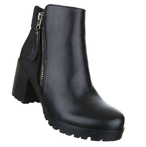 Damen Stiefeletten Schuhe Kurzschaft Zipper Boots Schwarz 36 37 38 39 40 41 Schwarz