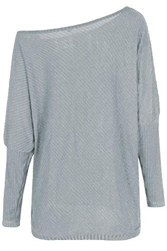 Zaywind Damen Sexy Fledermaus Schulterfrei Sweatshirt Bat Sleeves Cardigan Casual Knit Strickpullover Off Shoulder Top Grau