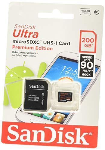 Foto Sandisk Scheda di Memoria MicroSDXC UHS-I Classe 10da 200 GB Xc con Adattatore SD, Classe 10, Rosso/Argento, [Vecchio Modello]