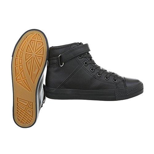 Ital-Design Scarpe da Donna Sneaker Piatto Sneakers High nero BL80