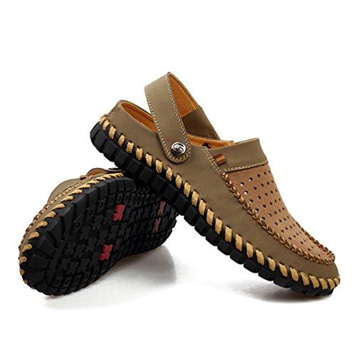 YiLianDa Herren Schuhe Hausschuhe Slipper Mokassins Casual Leder Bummler Fahren Khaki