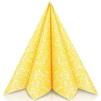 GRUBly Servilletas AMARILLO de papel gofrado fino ornamental | Servilletas papel de fiesta como servilletas de tela | Ideal Cenas Bodas Cumpleaños Barbacoas | CALIDAD AIRLAID | 40 x 40 cm | Pack de 50
