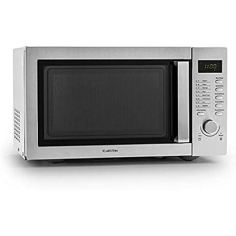 Klarstein Steelwave forno a microonde (800 Watt, 23l, piatto girevole, 8 programmi automatici, display LCD, timer) - argento