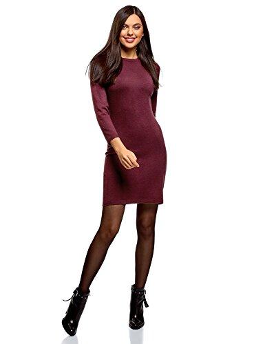 oodji Ultra Damen Basic Kleid mit 3/4-Ärmeln, Violett, DE 34 / EU 36 / XS