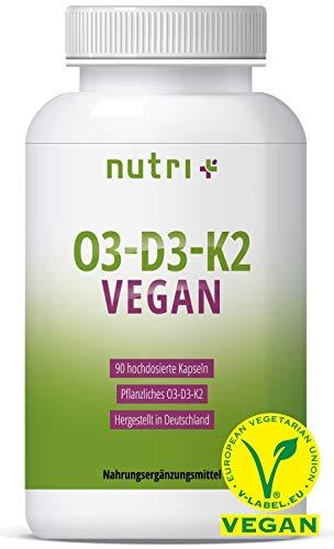 O3 - D3 - K2 VEGAN - Omega 3 mit DHA aus Algenöl und ALA - Vitamin D aus Flechten und MK7...